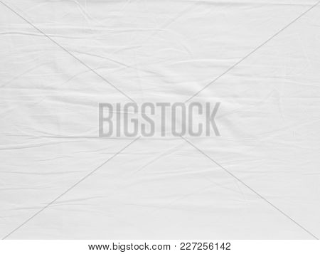 White Fabic Texture Wrinkled Texture , Soft Focus White Fabic Crumpled Background.