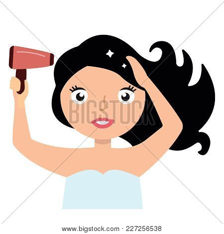 Woman Drying Her Hair With Hairdryer. Vector Cartoon Illustration Eps10