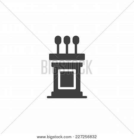 Podium Vector Icon. Filled Flat Sign For Mobile Concept And Web Design. Tribune Simple Solid Icon. S