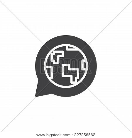 Globe In Speech Bubble Vector Icon. Filled Flat Sign For Mobile Concept And Web Design. Language Sim