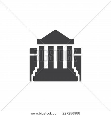 Museum Building Vector Icon. Filled Flat Sign For Mobile Concept And Web Design. Bank Simple Solid I