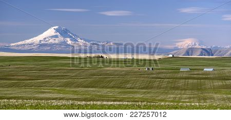 From A High Ridge In Oregon State One Can See Mt Rainier And Mount Adams Over On The Washington Side