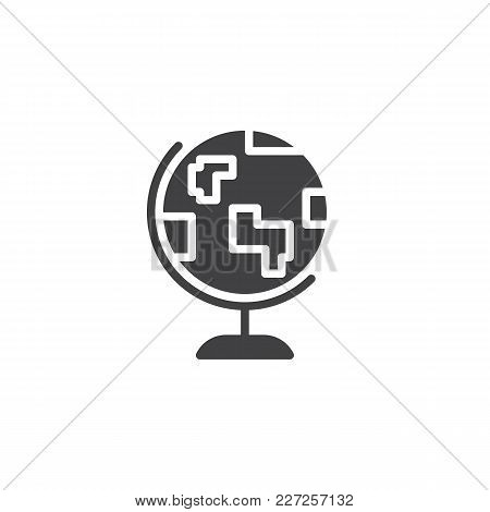 Earth Globe Vector Icon. Filled Flat Sign For Mobile Concept And Web Design. Geography Simple Solid
