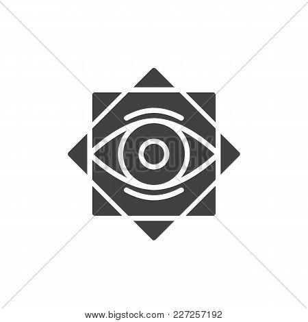 Eight Pointed Star With All Seeing Eye Vector Icon. Filled Flat Sign For Mobile Concept And Web Desi