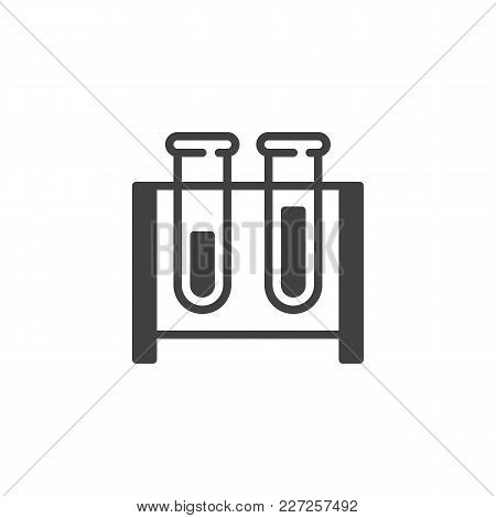 Test Tubes Vector Icon. Filled Flat Sign For Mobile Concept And Web Design. Chemistry Simple Solid I