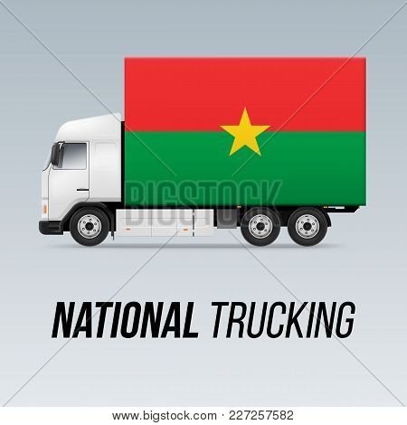 Symbol Of National Delivery Truck With Flag Of Burkina Faso. National Trucking Icon And Flag Design