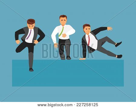 Businessmen Competitors Jumping Over An Obstacle. Vector Illustration