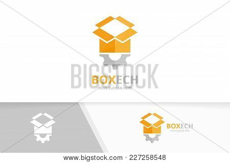 Vector Box And Gear Logo Combination. Package And Mechanic Symbol Or Icon. Unique Delivery And Indus