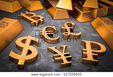 Golden Currency Symbols And Gold Bars - Usd, Eur, Cny, Gbp, Rub