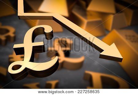 Golden Pound Symbol And Golden Arrow Down - Pound Money Fall Concept
