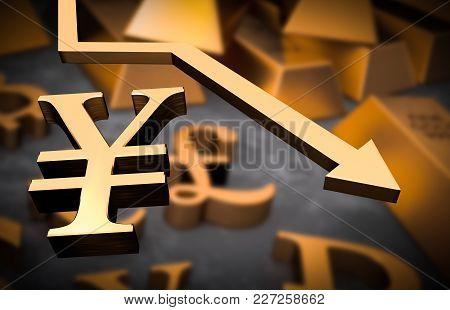 Golden Yen Symbol And Golden Arrow Down - Yen Money Fall Concept