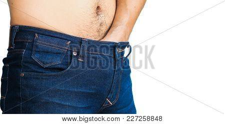 Close Up Man Problem With Itching Inside Trousers Jeans Isolated On White Background