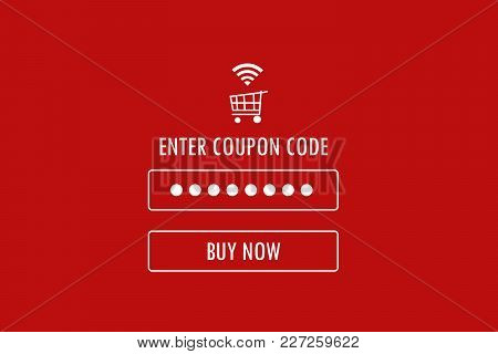 Discount Coupon Code On Red Background, Web Banner, Shopping On Line Promotion, Digital Marketing, B