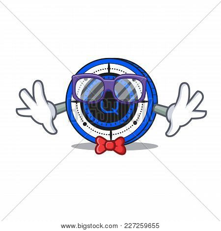 Geek Qash Coin Character Cartoon Vector Illustration