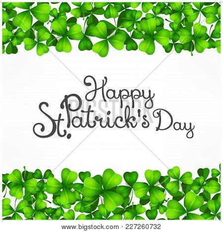 St. Patrick Day Poster. Patrick`s Day Clover Design Elements With Wishing Lettering On White. Vector
