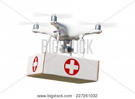 Unmanned Aircraft System (UAS) Quadcopter Drone Carrying First Aid Package On White. poster