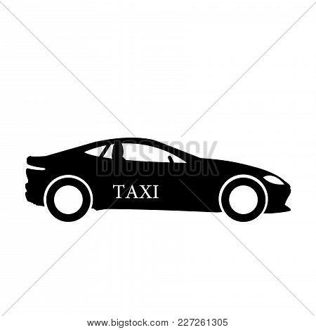Taxi Car Icon, Vector Isolated Flat Illustration. Front View.