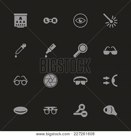 Optometry Icons - Gray Symbol On Black Background. Simple Illustration. Flat Vector Icon.
