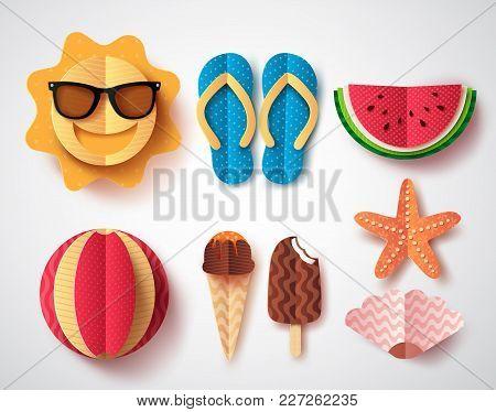 Summer Vector Elements Set With Paper Cut Flat Folding Style Of Sun, Flipflops Icecream, Watermelon
