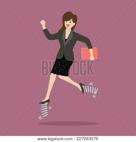 Business Woman Running By Elastic Spring Shoes. Vector Illustration