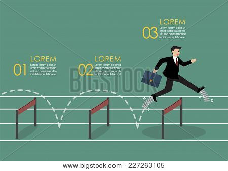 Businessman With Elastic Spring Shoes Jumping Over Hurdle. Infographic. Business Concept