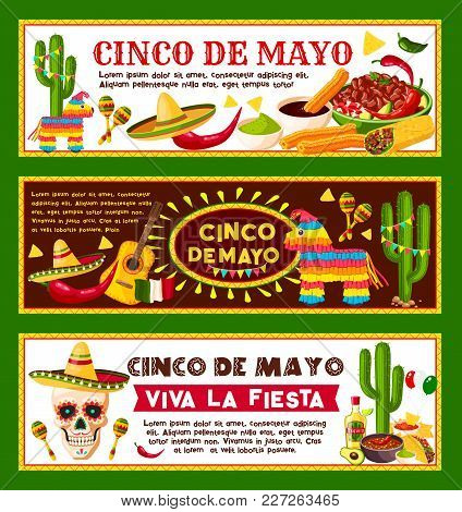 Cinco De Mayo Mexican Banners Templates For Mexico National Holiday Celebration And Fiesta Party. Ve