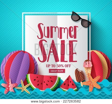 Summer Sale Vector Banner Template With White Space For Text And Colorful Paper Cut Beach Elements F