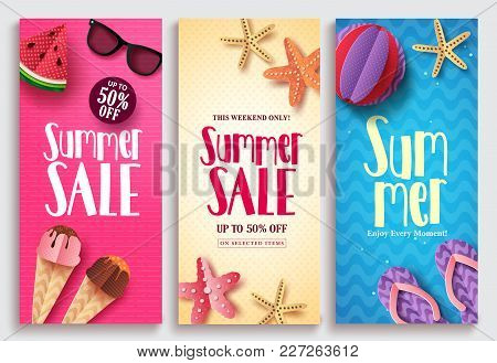 Summer Sale Vector Poster Design Set With Sale Text And Beach Paper Cut Elements In Colorful Pattern