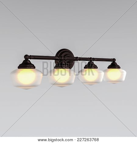3d Rendering. Wall Lamp With Four Lamps.lighting And Decoration Of Your Interior.
