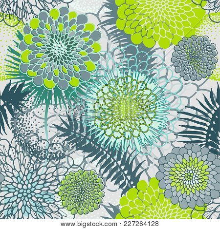 Green Tropical Leaves And Abstract Flowers Seamless Pattern