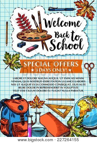 Welcome Back To School Sale Poster On Checkered Copybook Pattern Background. Vector Design Of School