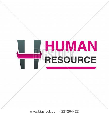 Vector Logo For Human Resources Agency. Concept Of People Search And Hr. Sign For Staff Search Compa