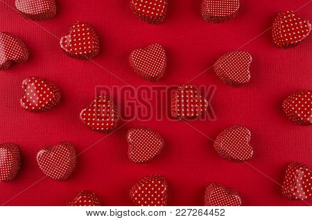 Passion Red Hearts On Deep Red Paper. Valentine Day Background, Pattern.