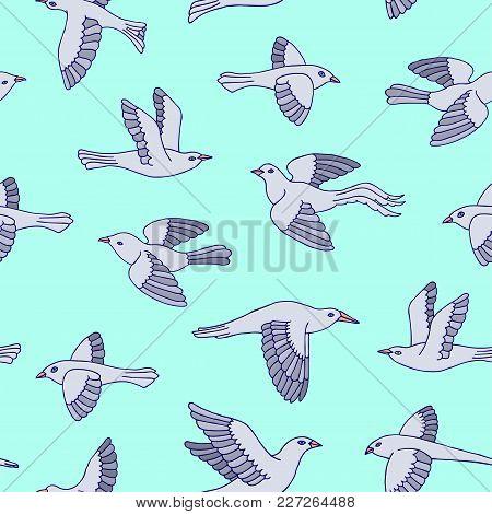Hand Drawn Decorative Cartoon Birds Seamless Pattern. Beautiful Animal Vector Illustration