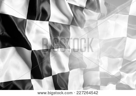 Checkered black and white racing flag