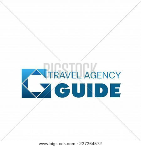 Logo For Tour And Travel Agency. Abstract Vector Logo In White And Blue Colors. Symbol Of Travel Gui