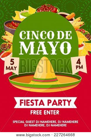 Cinco De Mayo Mexican Holiday Sombrero With Festive Food Invitation Banner For Fiesta Party Template
