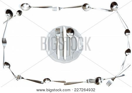 Frame Of The Cutlery Forks And Spoons