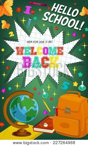 Welcome Back To School Poster Of Star Bang, Numbers Or Stars And Maple Leaf Pattern On Chalkboard Ba