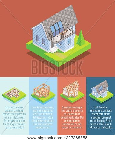 Cottage Construction Vector Flat Isometric Poster, Banner With Foundation, Framing, Roofing, Windows