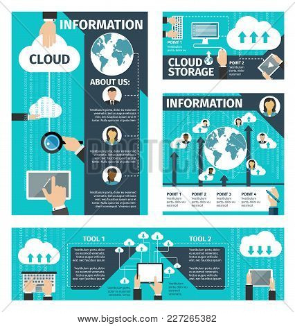 Infographic Vector About Cloud Technologies. Concept Of Computer And Connected Mobile Devices. Infog