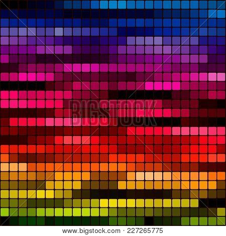 Abstract Square Pixel Mosaic Background. Abstract Geometric Mosaic Background Of Squares. Vector