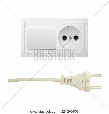 Electric White Socket With Plug And Switch. Electricity Vector Illustration. Household Appliances.