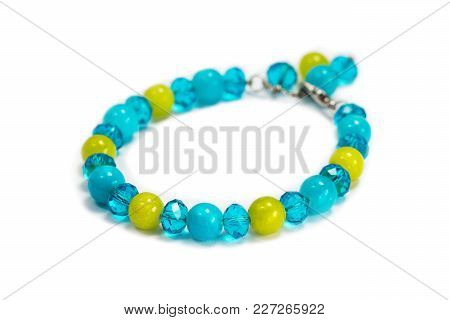 Bracelet From Blue, Green Stones And Crystal