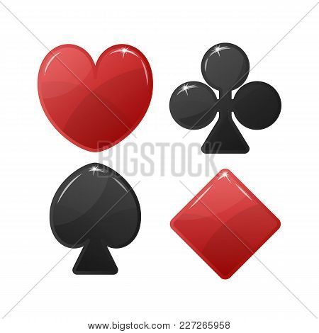Playing Card Suit Symbol. Red Hearts And Tiles Diamonds , Black Clovers Clubs And Pikes Spades . Vec