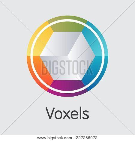 Voxels: Blockchain Logo. Blockchain, Block Distribution Vox Transaction Icon