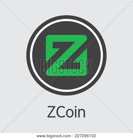 Zcoin - Digital Currency Concept. Colored Vector Icon Logo And Name Of Crypto Currency On Grey Backg