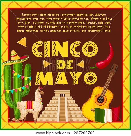 Mexican holiday greeting card vector photo bigstock mexican holiday greeting card for cinco de mayo celebration fiesta party sombrero hat chili m4hsunfo Image collections