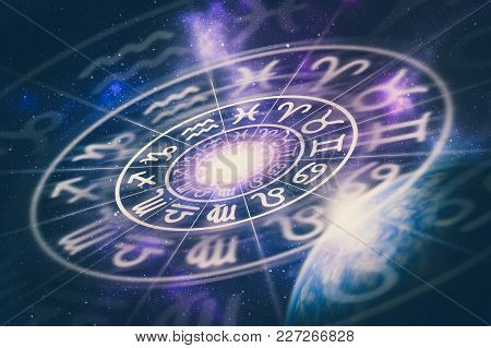 Astrological Zodiac Signs Inside Of Horoscope Circle On Universe Background - Astrology And Horoscop