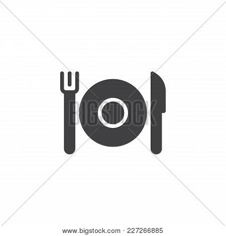 Plate With Cutlery Vector Icon. Filled Flat Sign For Mobile Concept And Web Design. Fork And Knife W